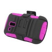 Insten Advanced Armor Hybrid Stand PC/Silicone Holster Case Cover for Samsung Galaxy S3 Mini GT-I8190 - Black/Hot Pink