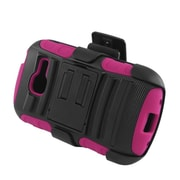 Insten Advanced Armor Hybrid Stand PC/Silicone Holster Case Cover for Samsung Galaxy Centura SGH-S738 - Black/Hot Pink