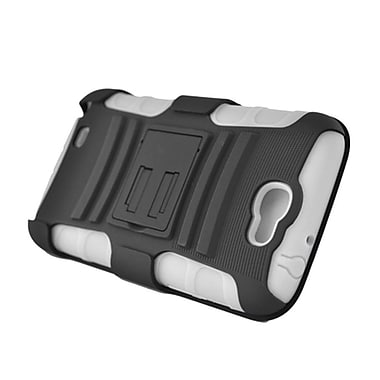 Insten Advanced Armor Dual Layer Hybrid Stand PC/Silicone Holster Case Cover for Samsung Galaxy Note II - Black/White