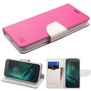 Insten Flip Leather Fabric Case w/stand/card holder For Motorola Moto E3 - Hot Pink/White