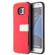 Insten Moderne Series Luxury Card Holder Hybrid Stand Case For Samsung Galaxy S7 Edge - Red/Silver