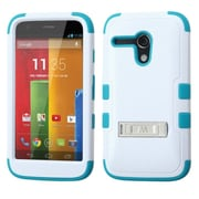 Insten Natural Ivory White/Tropical Teal TUFF Hybrid Hard Shockproof Case Cover Stand For MOTOROLA Moto G