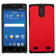 Insten Hard Dual Layer Hybrid Rubber Silicone Case For ZTE ZMAX 2 - Red/Black