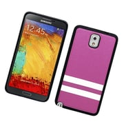 Insten Stripes PC/TPU Rubber Case Cover for Samsung Galaxy Note 3 - Purple/White