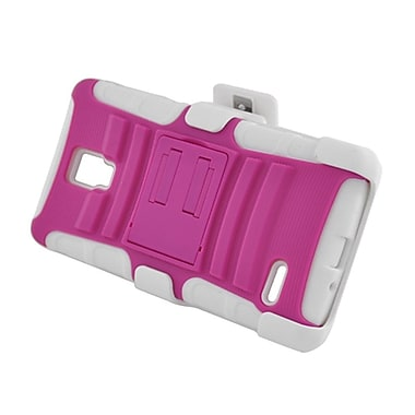 Insten Advanced Armor Dual Layer Hybrid Stand PC/Silicone Holster Case Cover for LG Optimus L9 P769 - Hot Pink/White