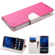 Insten Folio Leather Fabric Cover Case w/stand/card slot For Alcatel Idol 4S - Hot Pink/White