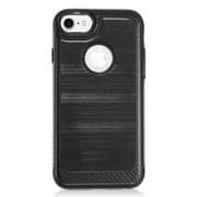 Insten Hybrid CS4 Brushed Metal Hard Dual Layer Shockproof Case Cover For Apple iPhone 7 - Black