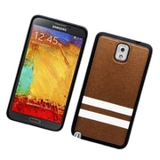 Insten Stripes PC/TPU Rubber Case Cover for Samsung Galaxy Note 3 - Brown/White