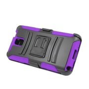 Insten Advanced Armor Dual Layer Hybrid Stand PC/Silicone Holster Case Cover for Samsung Galaxy Note 3 - Black/Purple
