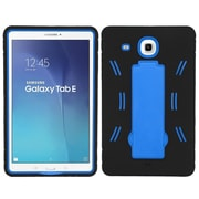 Insten Symbiosis Skin Hybrid Rubber Hard Case w/stand For Samsung Galaxy Tab E 9.6 - Black/Blue