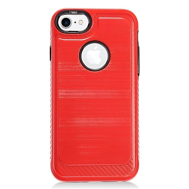 Insten Hybrid CS4 Brushed Metal Hard Dual Layer Shockproof Case Cover For Apple iPhone 7 - Red/Black
