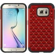 Insten Hybrid Studded Diamond Bling Shockproof Case Cover For Samsung Galaxy S6 Edge - Red/Black