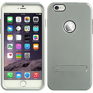 Insten Hard Dual Layer Rubberized Silicone Case w/stand for Apple iPhone 6s Plus / 6 Plus - Silver