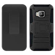 Insten Hard Dual Layer Plastic Silicone Case w/Holster For HTC One M9 - Black