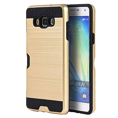 Insten Silk Back Plate Hybrid Card to Go Shockproof Case Cover For Samsung Galaxy A7 - Gold/Black