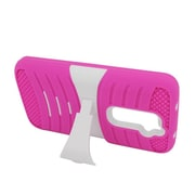Insten Wave Symbiosis Soft Rubber Hard Case w/stand For LG G2 D801 T-Mobile/G2 LS980 Sprint - Hot Pink/White