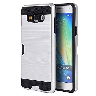 Insten Silk Back Plate Hybrid Card to Go Shockproof Case Cover For Samsung Galaxy A7 - Silver/Black