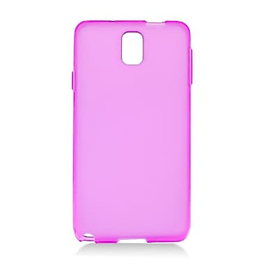 Insten Transparent Frosted TPU Rubber Candy Skin Case Back Cover For Samsung Galaxy Note 3 - Hot Pink