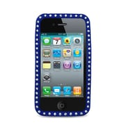 Insten Gel Rubber Cover Case w/Diamond For Apple iPhone 4 - Blue