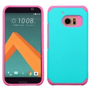 Insten Hard Hybrid Rubber Coated Silicone Case For HTC One M10 - Teal/Hot Pink