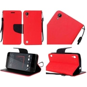 Insten Folio Wallet Case for HTC Desire 530 - Red/Black - Premium PU Leather - Kickstand Cover - Ultra Slim Design