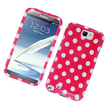 Insten Polka Dots Hard Plastic Case For Samsung Galaxy Note 2 II - Hot Pink/White