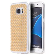 Insten Checker TPU Diamante Cover Case For Samsung Galaxy S7 Edge - Gold