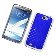 Insten Hard Rubber Chrome Case with Diamond For Samsung Galaxy Note 2 II - Blue
