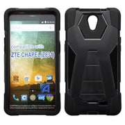 Insten Hard Dual Layer Plastic Silicone Cover Case w/stand For ZTE Chapel - Black