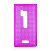 Insten Checker Gel Transparent Cover Case For Nokia Lumia 928 - Purple