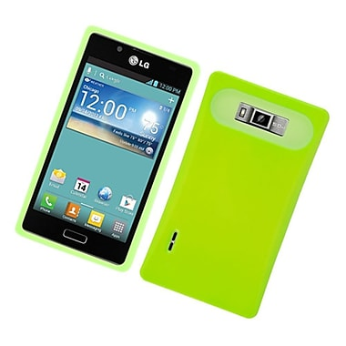 Insten Two-Tone/NightGlow Hybrid Jelly Hard Silicone Case Cover For LG Splendor US730 / Venice LG730 - Neon Green