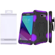 Insten SuperCoil Hybrid Premium Kickstand with Holster Clip Combo Case For Samsung Galaxy J3 (2017) - Black/Dark Purple