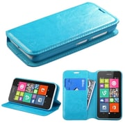 Insten Folio Leather Fabric Cover Case w/stand/card slot For Nokia Lumia 530 - Blue