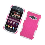 Insten TPU Rubber Hard PC Candy Skin Mesh Case Cover For Samsung Galaxy Prevail 2 / Ring - Hot Pink/White