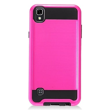 Insten Hybrid CS3 Brushed Metal Hard Dual Layer Shockproof Case Cover For LG Tribute HD / X STYLE - Hot Pink/Black
