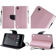 Insten Folio Wallet Case for HTC Desire 530 - Rose Gold/Black - Premium PU Leather - Kickstand Cover - Ultra Slim Design
