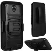 Insten Hard Hybrid Plastic Silicone Cover Case w/Holster For ZTE Grand X 4 - Black
