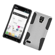 Insten TPU Rubber Hard PC Candy Skin Mesh Case Cover For LG Optimus L9 P769 - White/Black