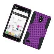 Insten TPU Rubber Hard PC Candy Skin Mesh Case Cover For LG Optimus L9 P769 - Purple/Black