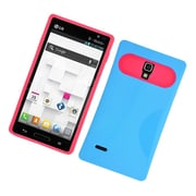 Insten Two-Tone/NightGlow Jelly Hybrid Hard Silicone Case Cover For LG Optimus L9 P769 - Blue/Hot Pink
