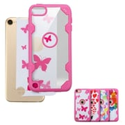 Insten Butterfly Dancing Hard Crystal TPU Cover Case For Apple iPod Touch 5th Gen/6th Gen - Clear/Hot Pink