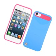 Insten Two-Tone/NightGlow Jelly Hybrid Hard Silicone Case Cover For Apple iPod Touch 5th Gen - Blue/Hot Pink