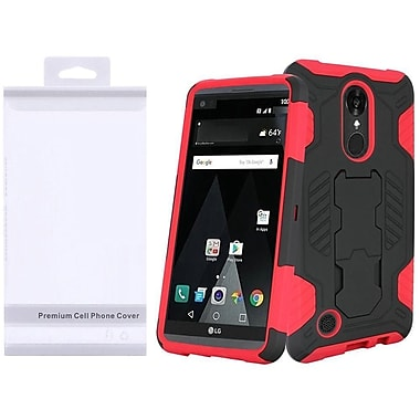 Insten SuperCoil Hybrid Premium Dual Layer Hard PC/TPU Kickstand Cover Case For LG Aristo / LV3 - Black/Red