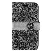 Insten Flip Leather Diamante w/card holder Case For Alcatel One Touch Allura/Fierce 4/Pop 4+ - Black/Silver