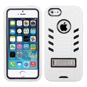 Insten Tuff eNuff Soft Hybrid Rubber Hard Cover Case w/stand For Apple iPhone SE / 5 / 5S - White/Black