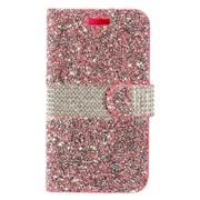 Insten Folio Leather Bling w/card slot Case For Alcatel One Touch Allura/Fierce 4/Pop 4+ - Hot Pink/Silver