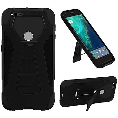 Insten Hard Dual Layer Plastic Silicone Cover Case w/stand For Google Pixel XL - Black