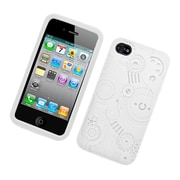 Insten Machine Rubber 3D Cover Case For Apple iPhone 4/4S - White