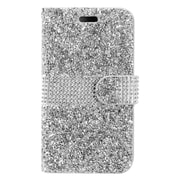 Insten Flip Leather Rhinestone w/card slot Case For LG X Power - Silver