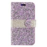 Insten Folio Leather Diamante w/card slot Case For LG X Power - Purple/Silver